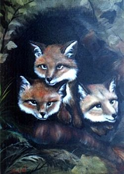 Bob Ross How-To Painting Packet Wildlife Baby Foxes