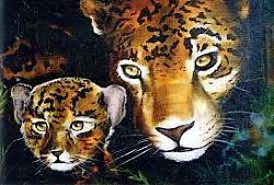Bob Ross How-To Painting Packet Wildlife Mother and Baby Jaguar